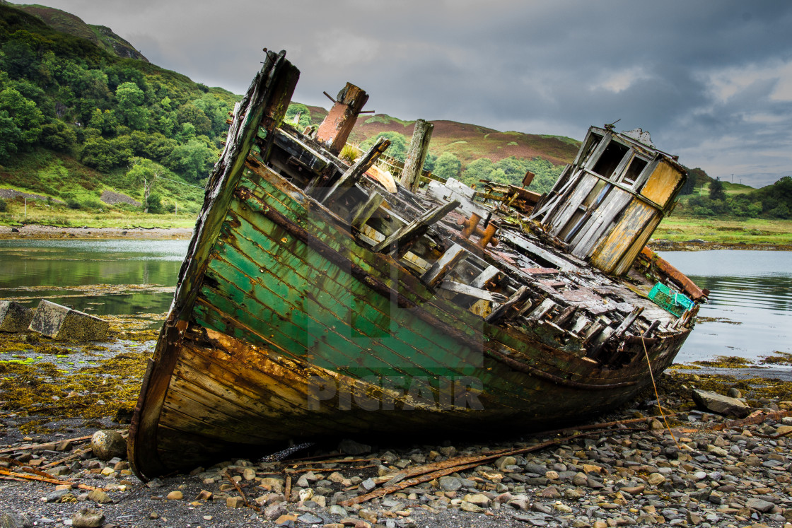 """Abandoned ship on Kerrara"" stock image"