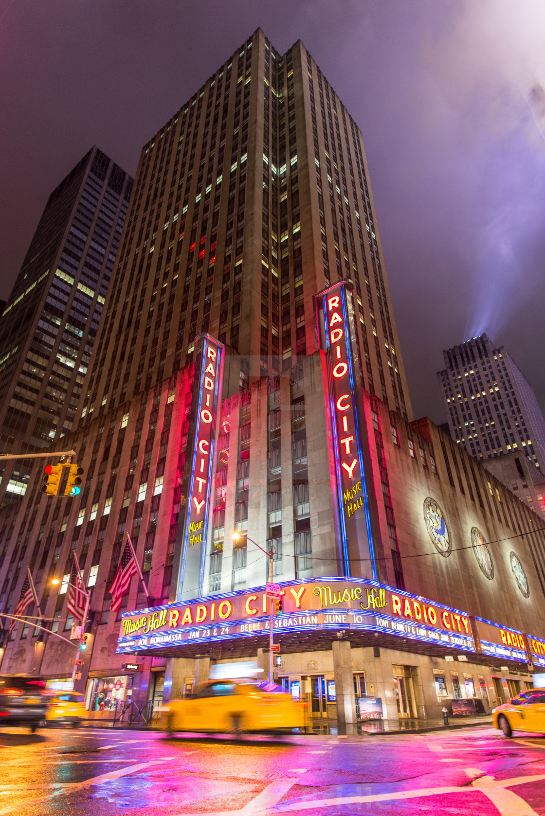 """Radio City in the rain"" stock image"