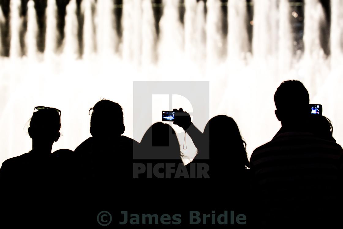 """Silhouette Burj fountain"" stock image"