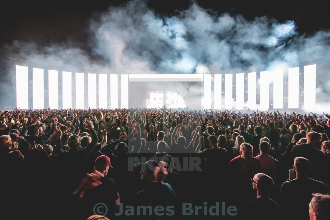 """A wall of light, Festival Crowd"" stock image"