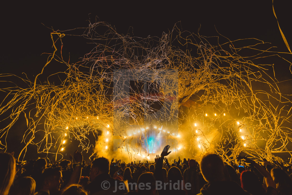 """David Guetta, Isle of Wight Festival, Main Stage Pyro"" stock image"