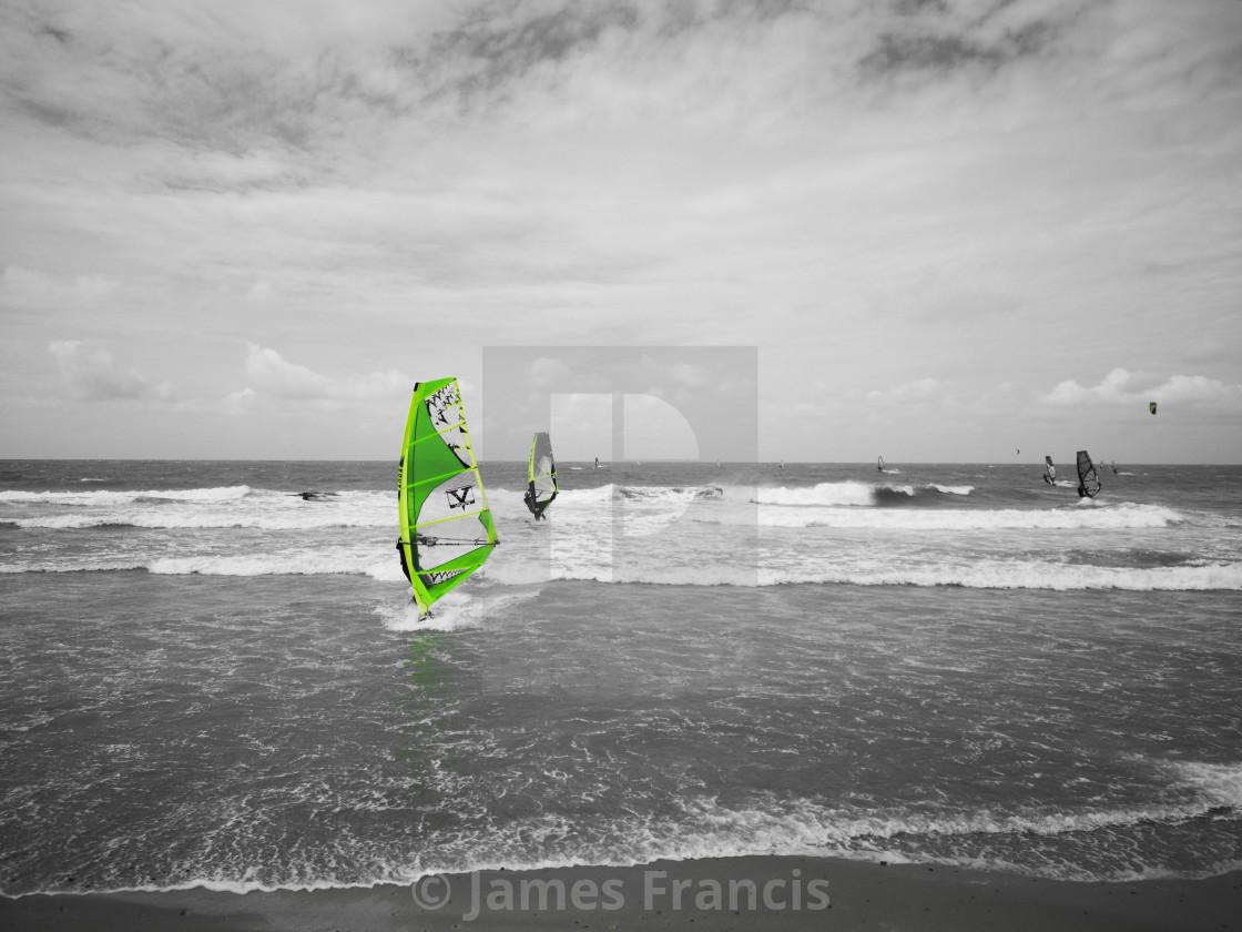 """Monochrome windsurfing"" stock image"