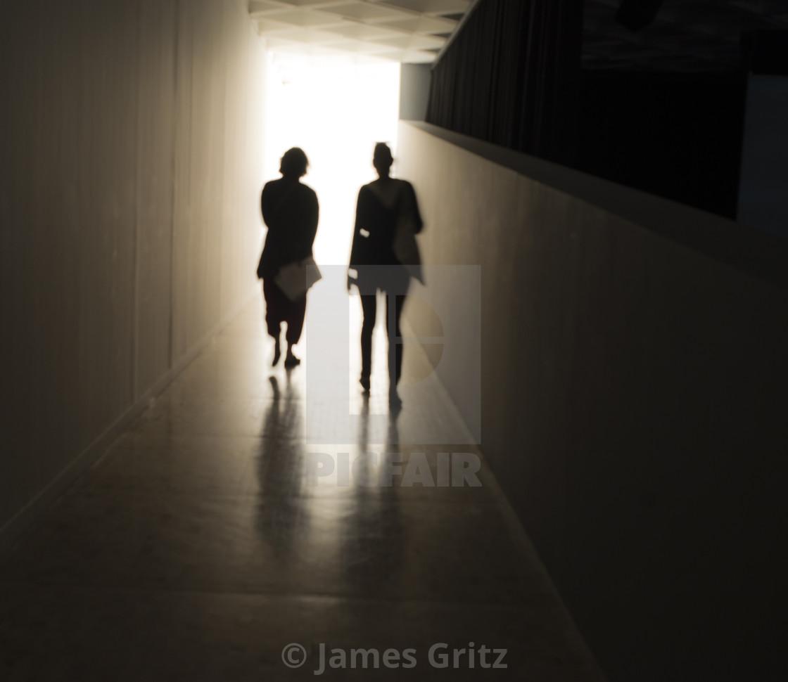 Two friends walking towards the light