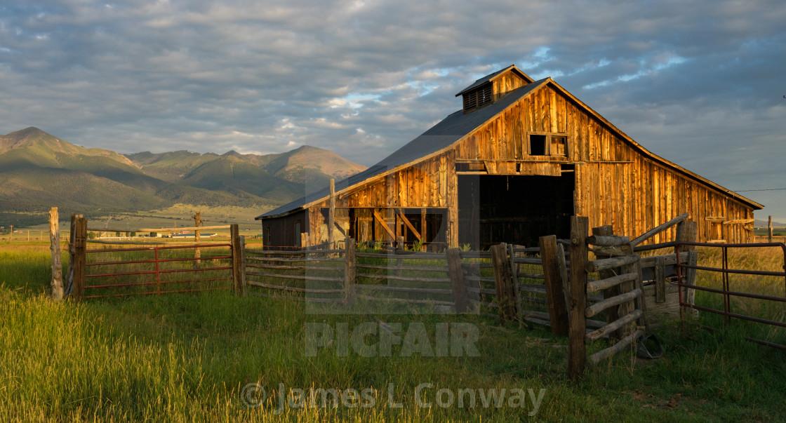 """Barn at sunrise"" stock image"