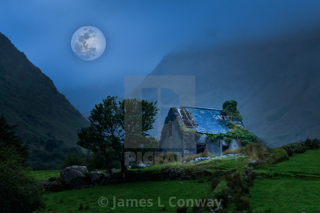"""""""Fairytale Collage at night"""" stock image"""