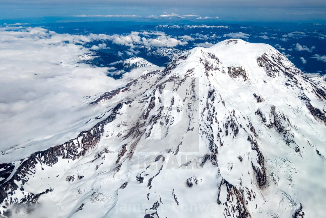 """Snow Covered Mountain Peak"" stock image"