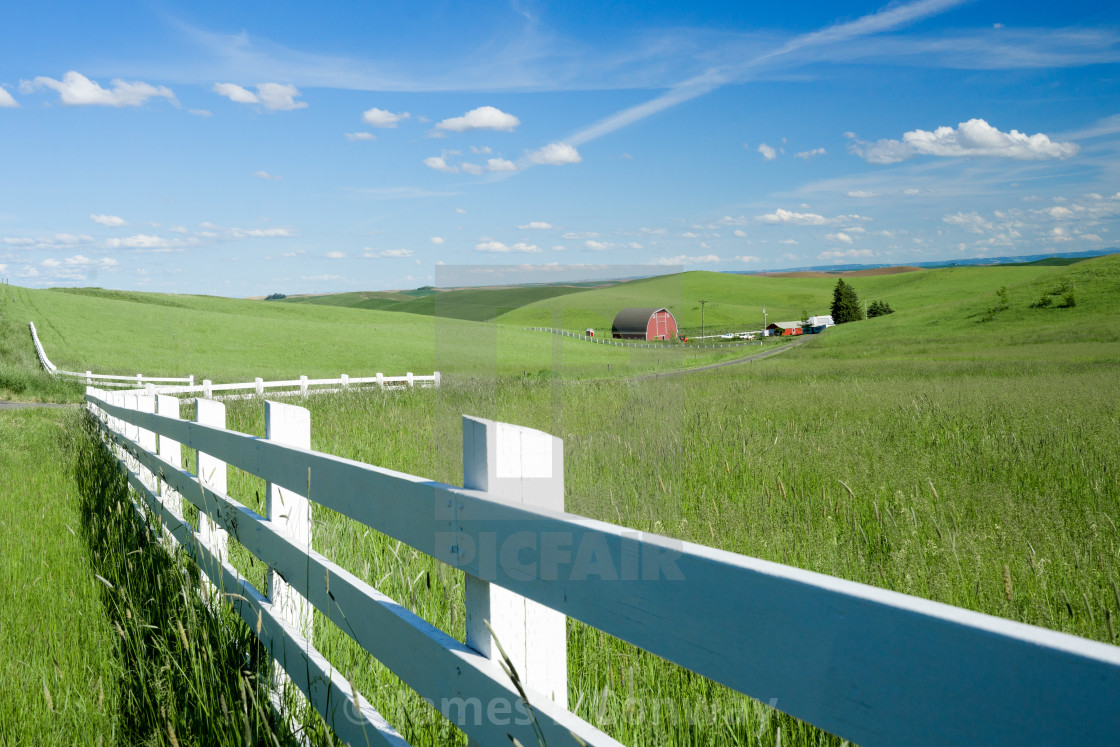 """""""White fence and farm"""" stock image"""