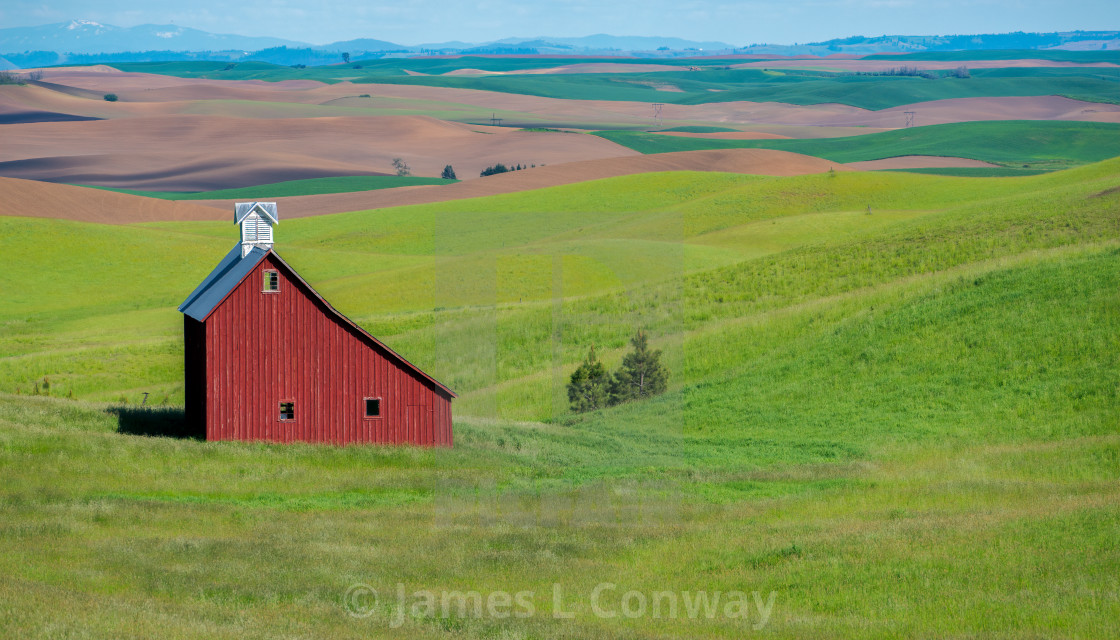 """Red Barn on Farm."" stock image"