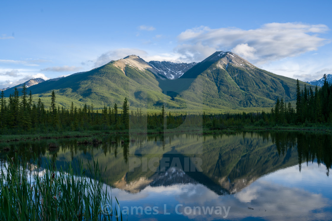 """""""Lake with Reflection of Mountains"""" stock image"""