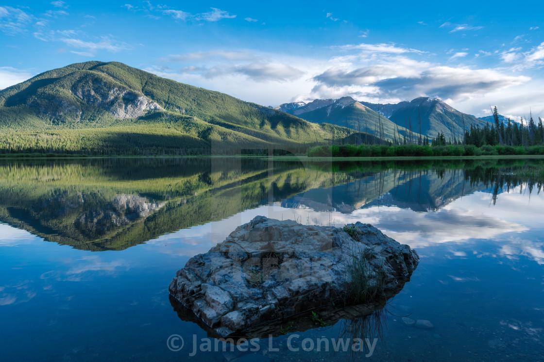 """Rock Mountain and Lake in Banff"" stock image"
