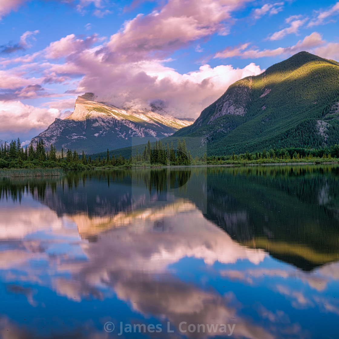 """""""Sunset over a lake in Banff"""" stock image"""
