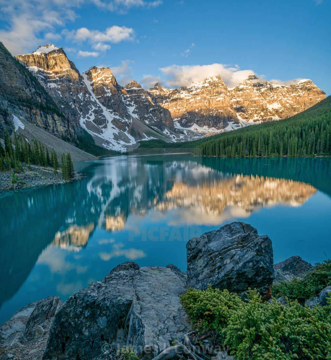 """""""Sunrise at Moraine Lake"""" stock image"""