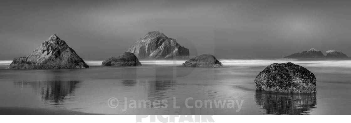 """Sea Stacks on Oregon Coast in Black and White"" stock image"