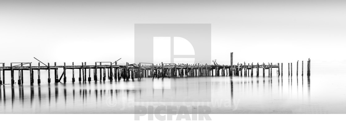 """""""Old wooden pier in black and white"""" stock image"""