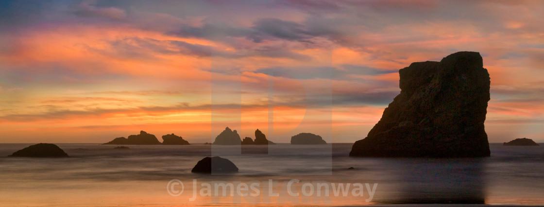 """Panorama of ocean sunset"" stock image"