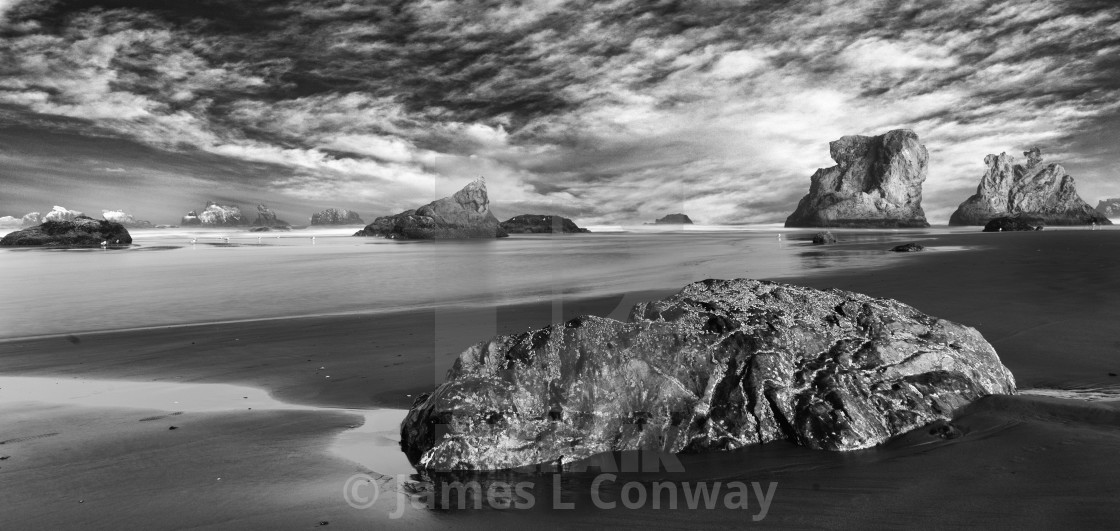 """""""Sea Stacks and Storm Clouds"""" stock image"""