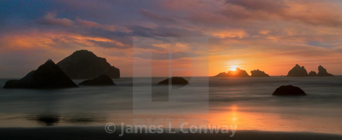 """""""Sunset on the Oregon Coast"""" stock image"""