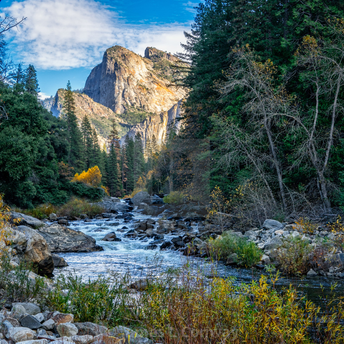 """A stream in Yosemite"" stock image"