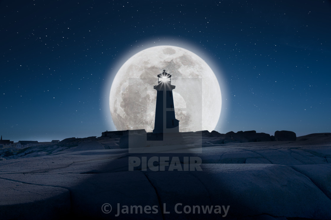"""""""Lighthouse in Full Moon"""" stock image"""