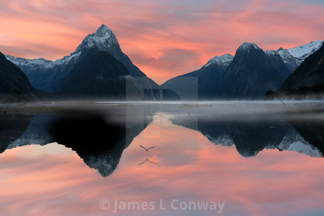 """Milford Sound Sunrise"" stock image"