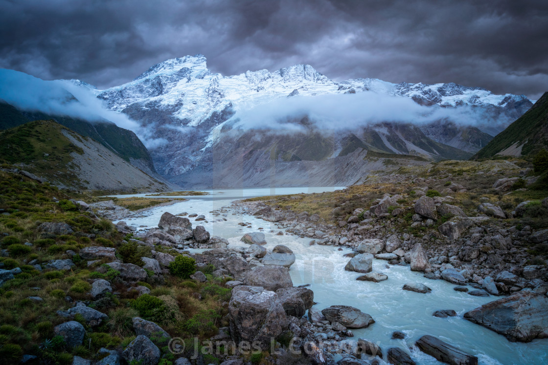 """River and Snowcapped Mountains"" stock image"