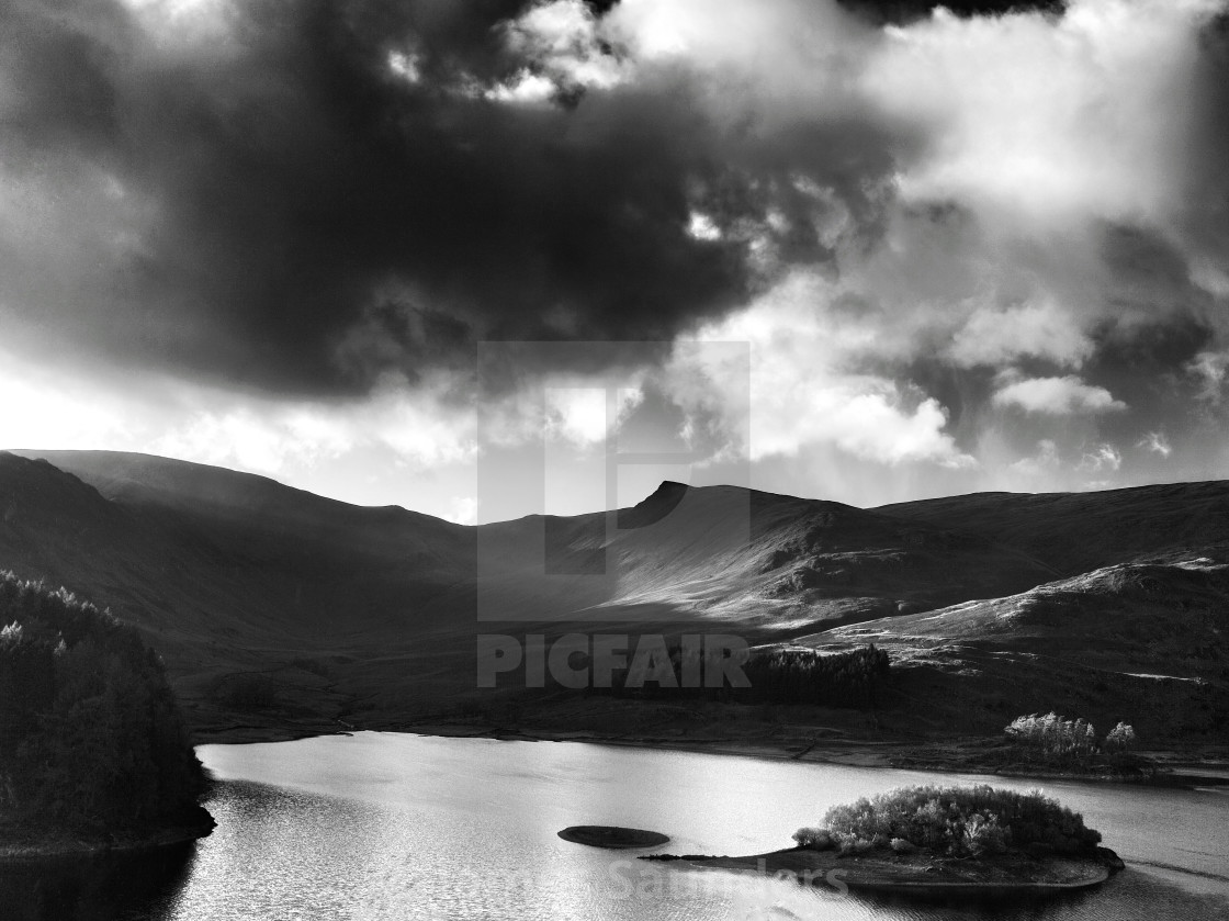 """Atmospheric clouds over the fells of ullswater, Lake Distict"" stock image"