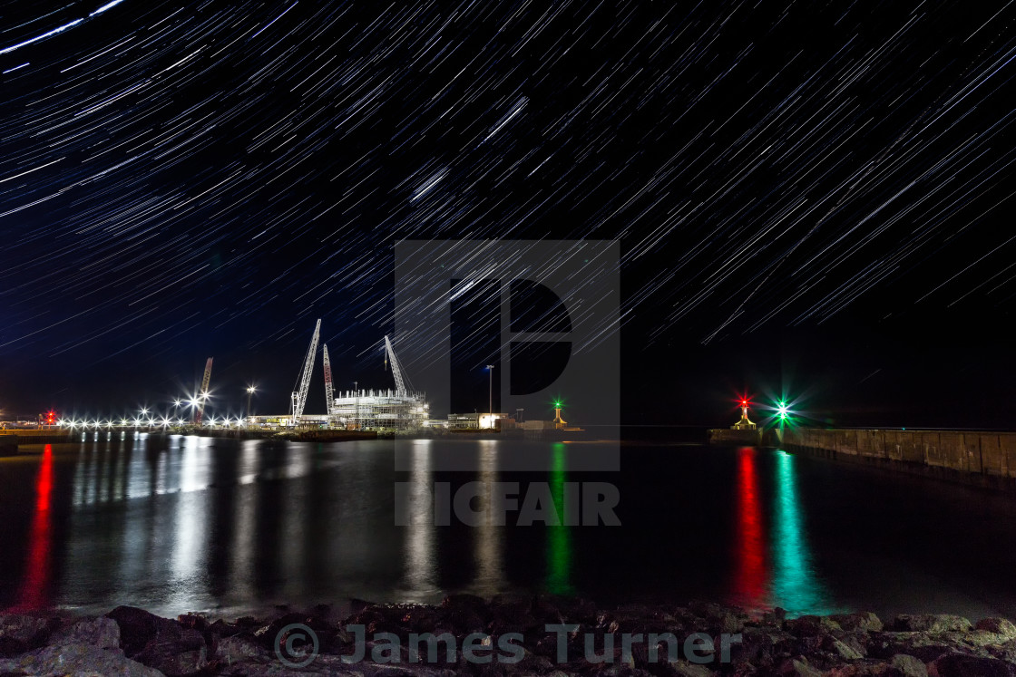 """Harbour Star Trails"" stock image"