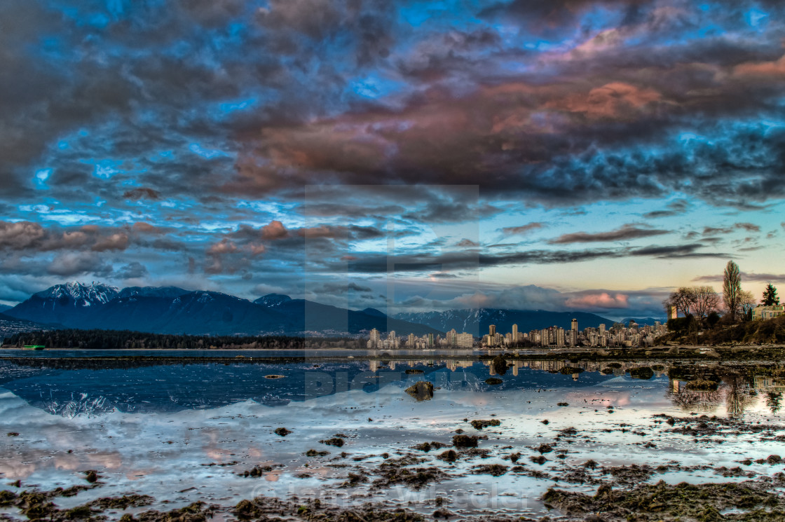 """""""Vancouver Skyline With Dramatic Blue Sky"""" stock image"""