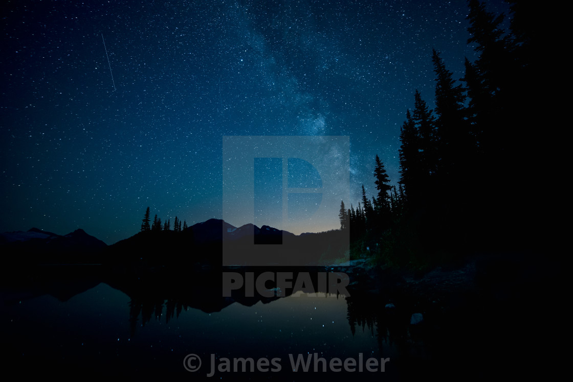 """""""Milky Way over Forest and Lake"""" stock image"""