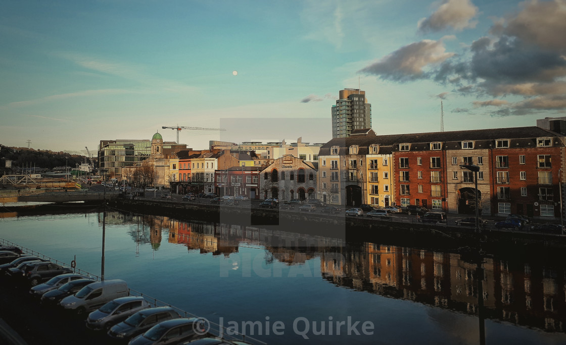 """Moon rise over Cork City"" stock image"