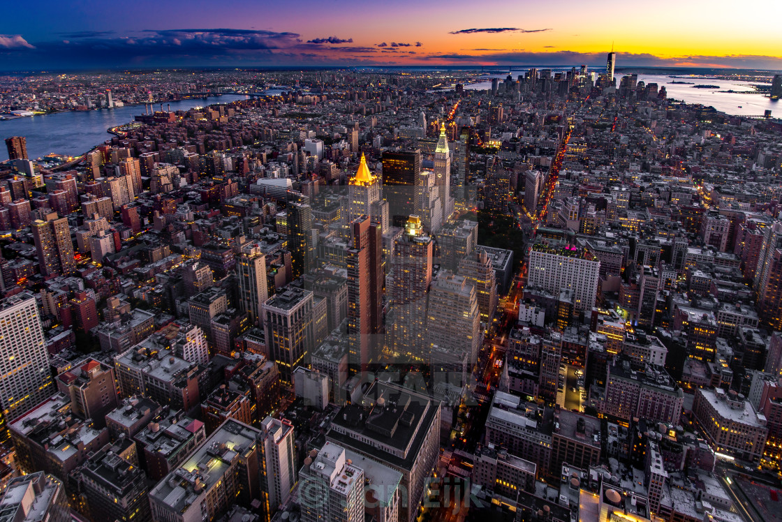 """Twilight over Manhattan"" stock image"
