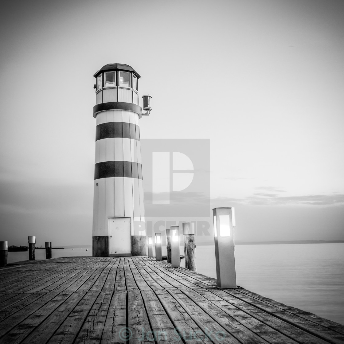 """red striped lighthouse black and white"" stock image"