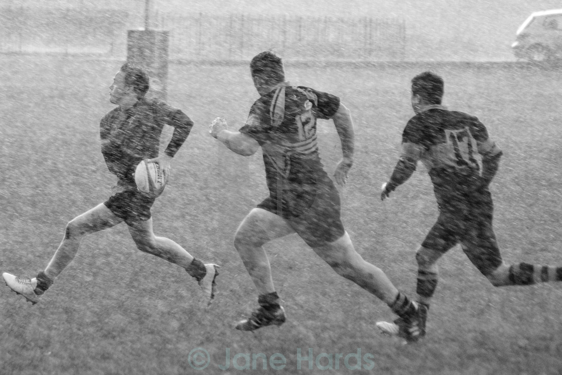 """""""Rugby in the snow"""" stock image"""