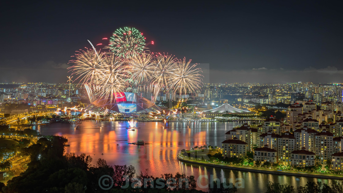 """Singapore National Day Parade Preview 1 Fireworks"" stock image"