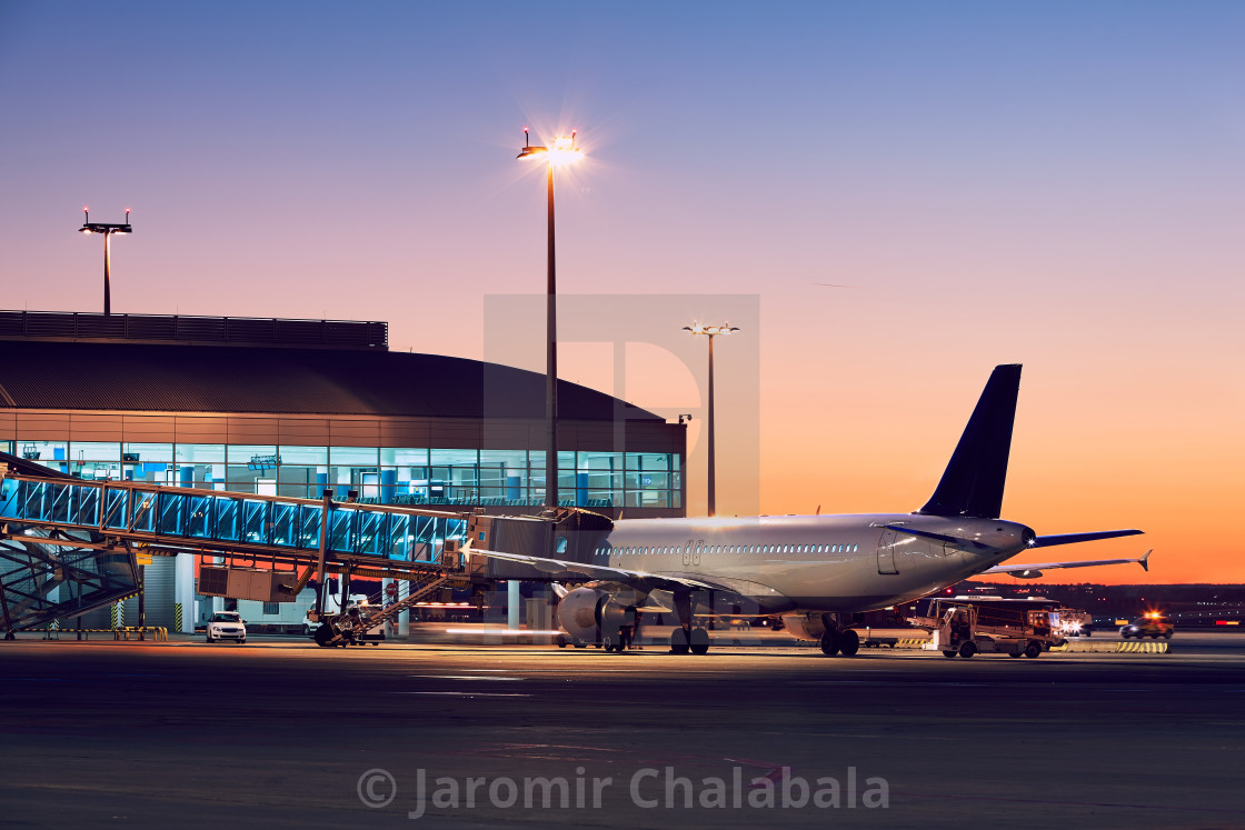 """Airport at the colorful sunset"" stock image"