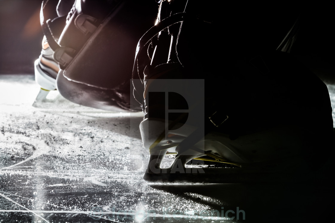 """Hockey goalie skates"" stock image"