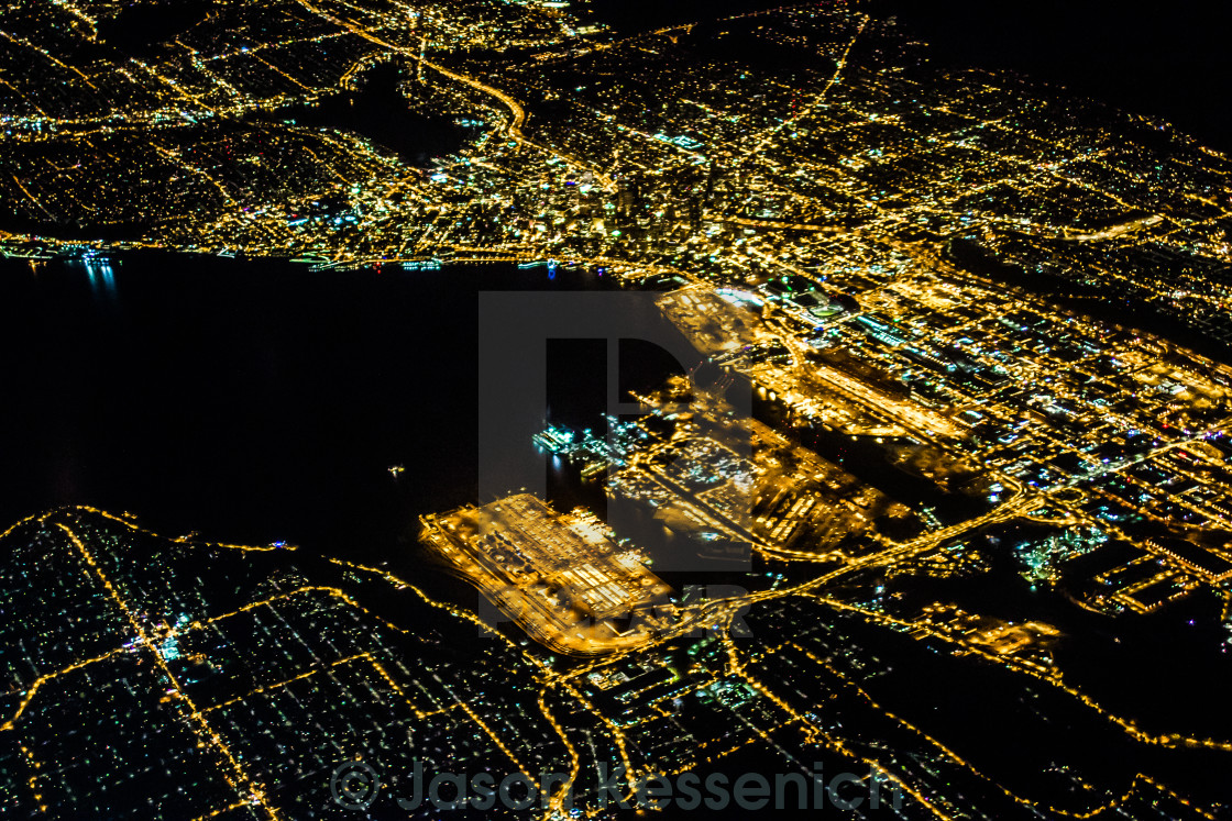 """Seattle at Night"" stock image"