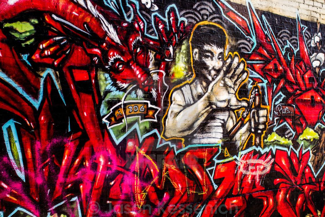 """Graffiti - Bruce Lee"" stock image"
