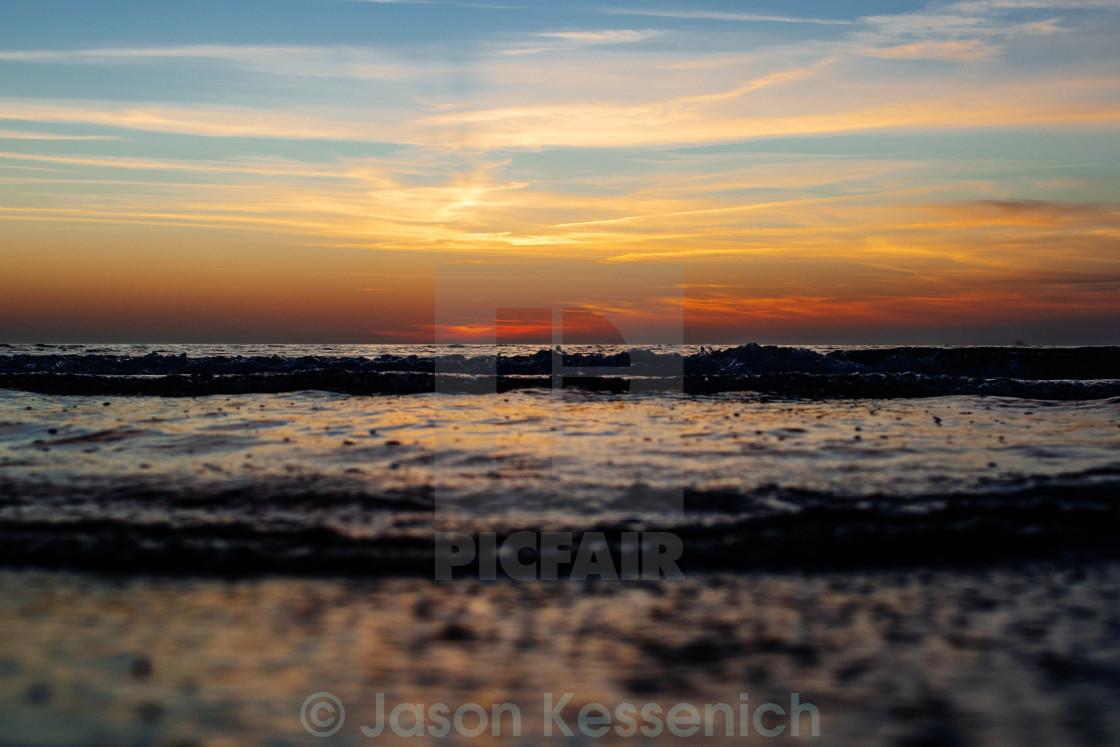 """""""Sunset Waves"""" stock image"""