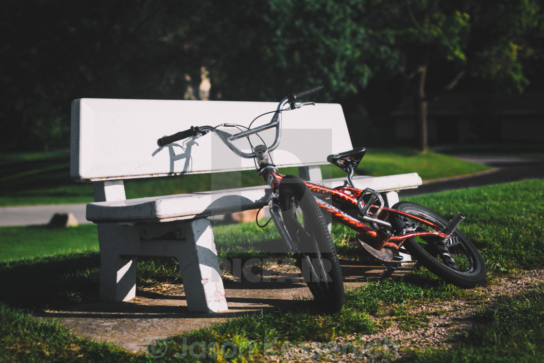 """Bench and Bike"" stock image"