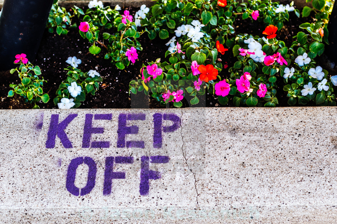 """""""KEEP OFF THE FLOWERS"""" stock image"""