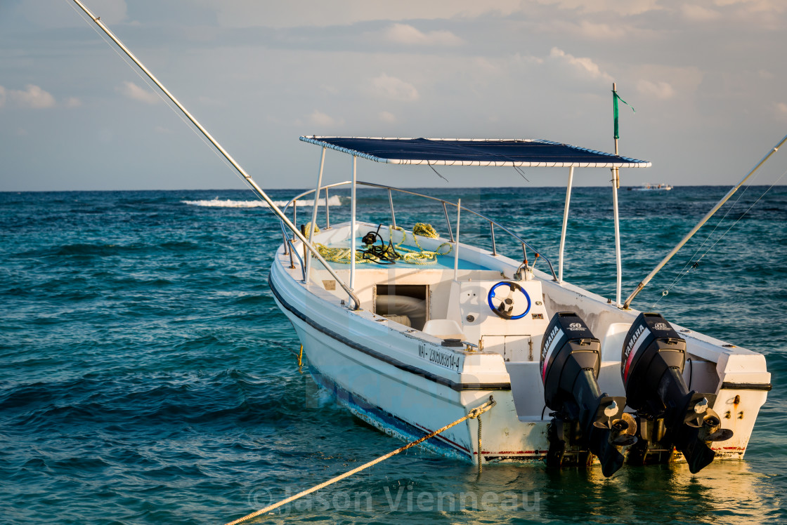 """Fishing boat in Riviera Maya"" stock image"
