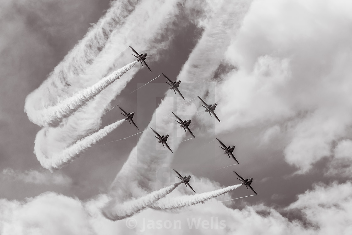"""Red Arrows flying the Typhoon formation"" stock image"