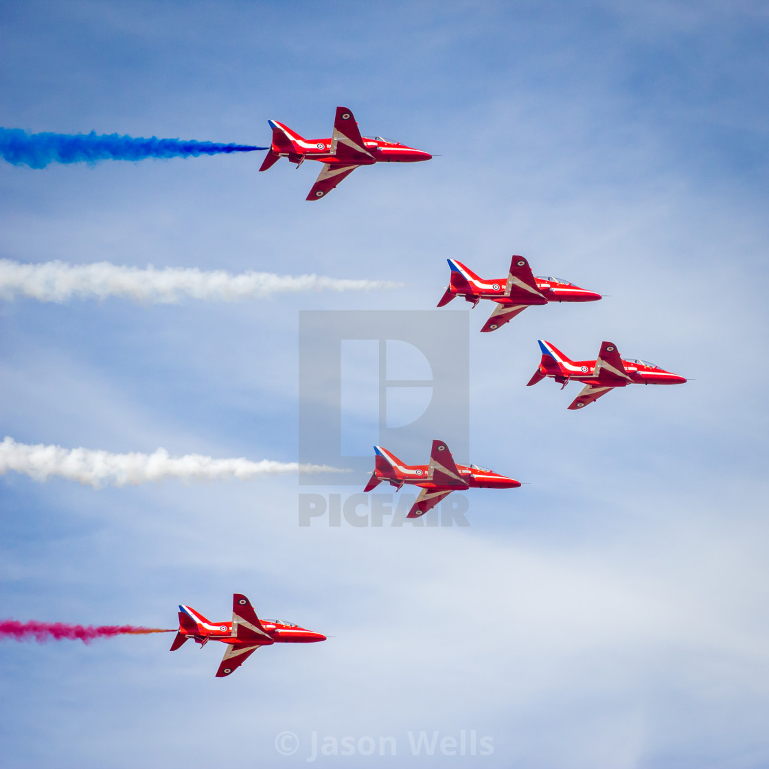 """Square crop of Red Arrows in ""Enid"" formation - at the Southport airshow."" stock image"