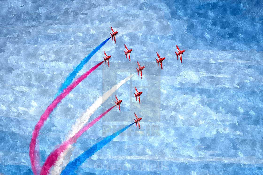 """""""Red Arrows in Concorde"""" stock image"""