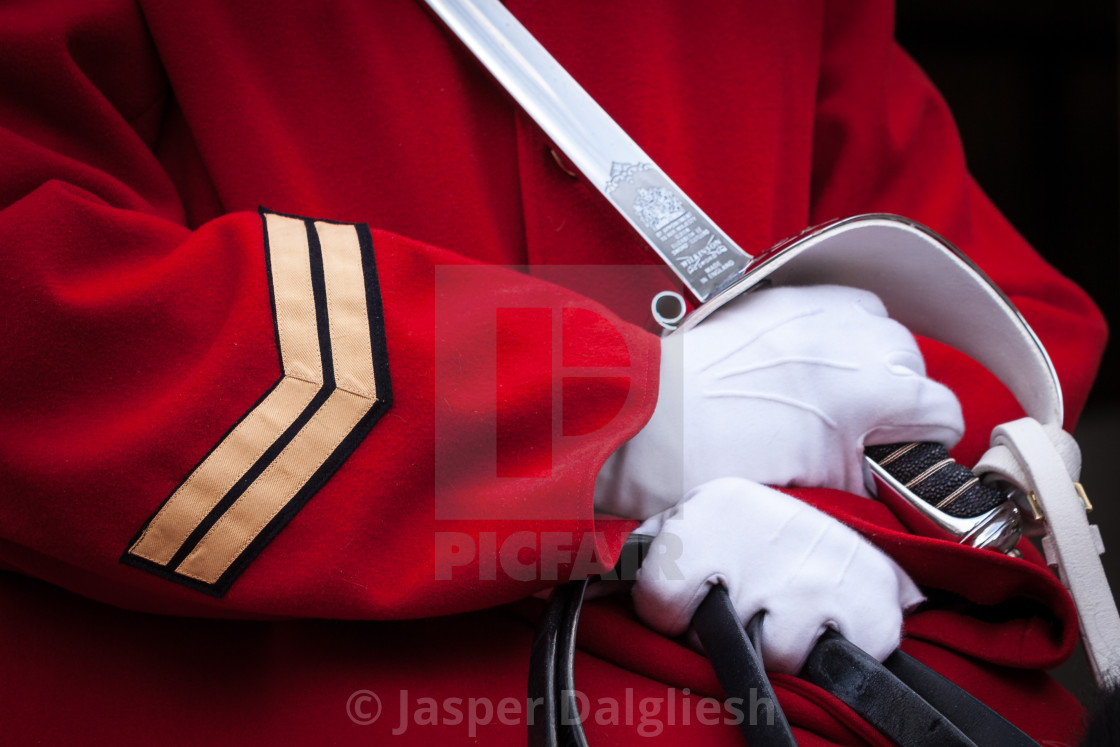 """""""Close up of a mounted soldier, Horseguards, London, UK"""" stock image"""