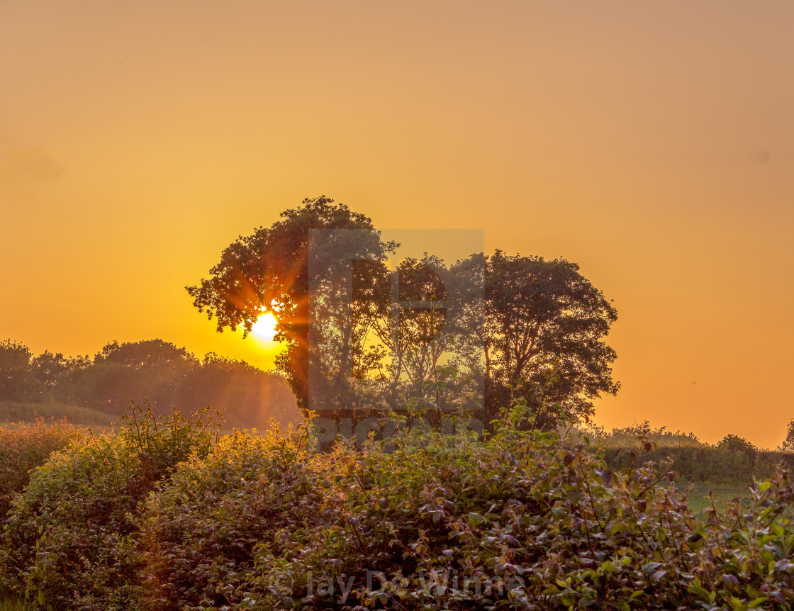 """English Countryside Sunset"" stock image"