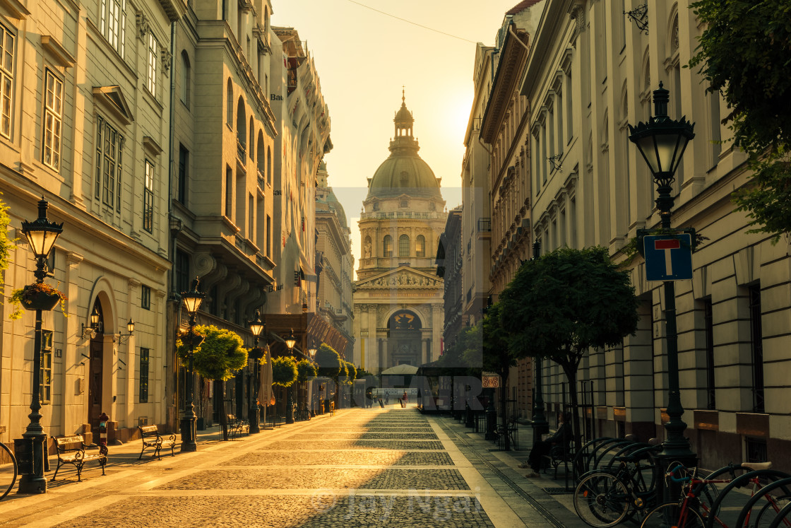"""Morning walk towards St Stephen Basilica"" stock image"