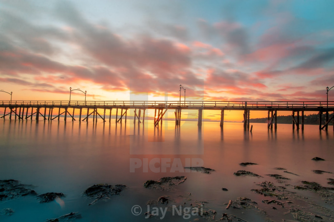 """White Rock Pier Sunset"" stock image"