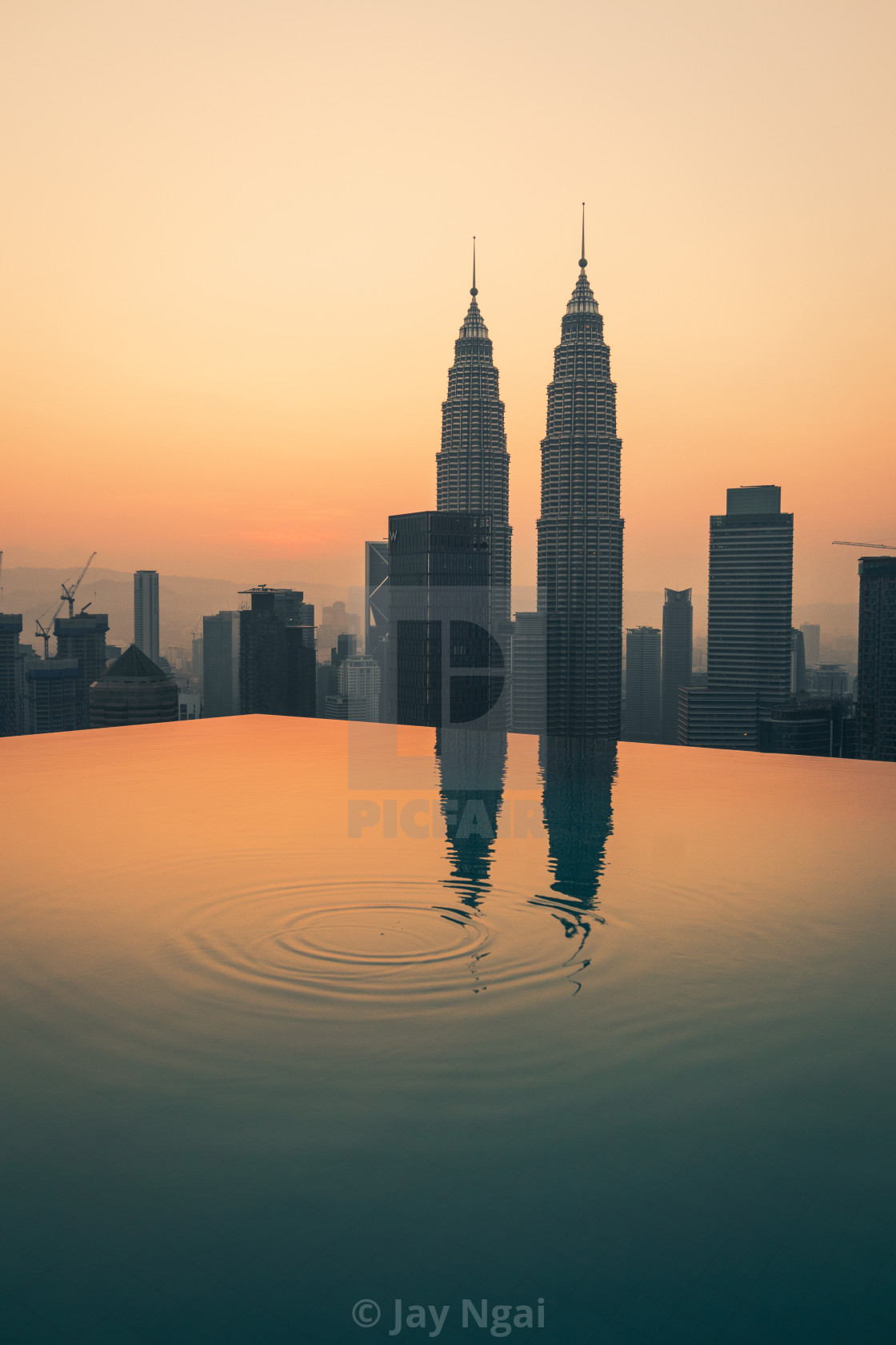 """Infinity pool sunrise"" stock image"